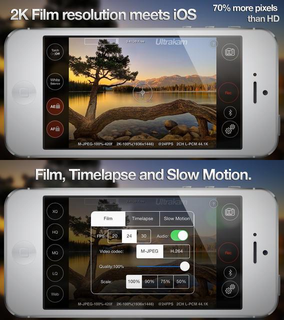 Ultrakam : enregistrer des vidéos en 2K sur iPhone & iPad