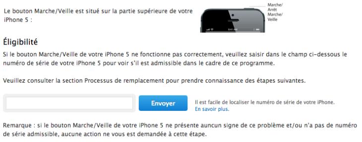 iPhone 5 : un programme de remplacement pour le bouton marche/veille