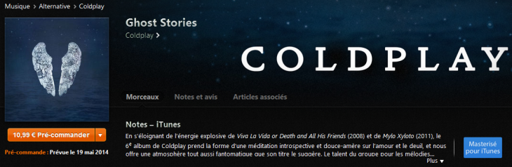iTunes : l'album Ghost Stories de Coldplay en écoute gratuite