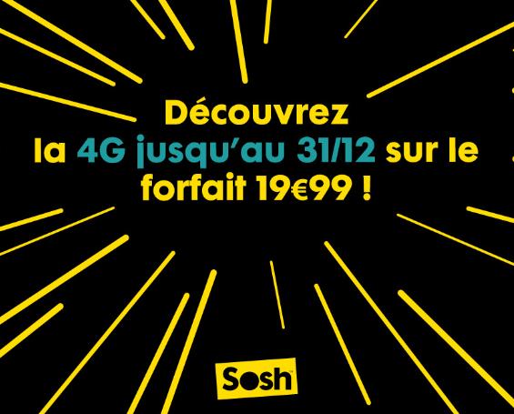 Sosh : ajout de la 4G dans le forfait à 19,99€