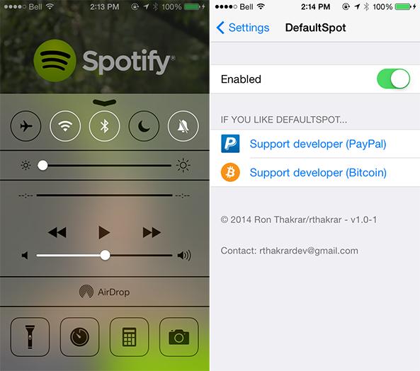 Spotify-DefaultSpot-Cydia