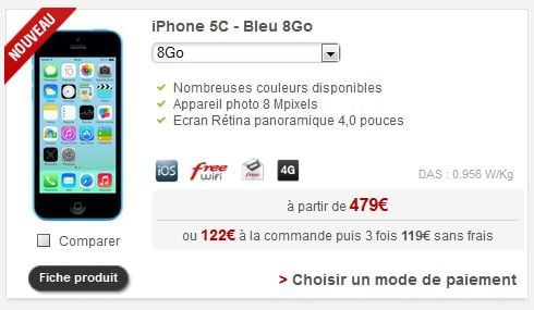 Free Mobile : l'iPhone 5C 8Go enfin disponible