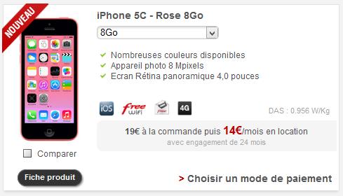 Free Mobile : l'iPhone 5C 8Go disponible à la location