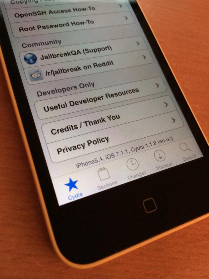 Jailbreak iOS 7.1.1 : réussi par i0n1c sur iPhone 5C