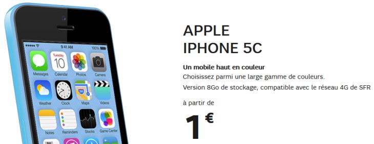 SFR : l'iPhone 5c disponible dès 1 euro