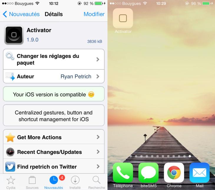 Jailbreak iOS 8 : Activator mis à jour sur Cydia