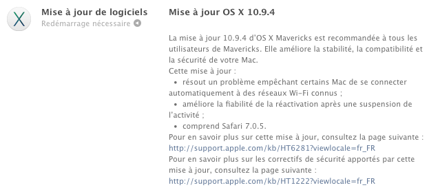 Apple : OS X 10.9.4 et Safari 7.0.5 disponibles sur Mac