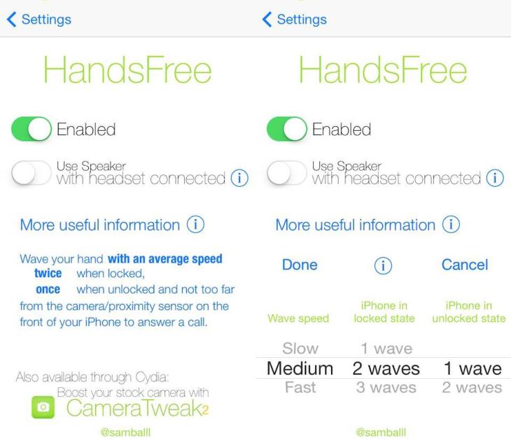 Cydia : Handsfree, répondre aux appels d'un mouvement de la main