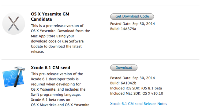 Apple rend disponible OS X Yosemite Golden Master