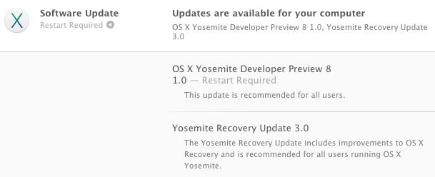 Apple : OS X Yosemite bêta 8 disponible pour les développeurs