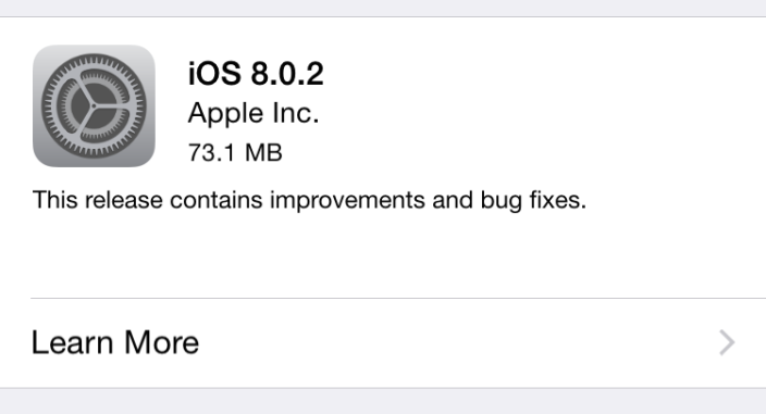 iOS 8.0.2 : disponible sur iPhone, iPad & iPod Touch