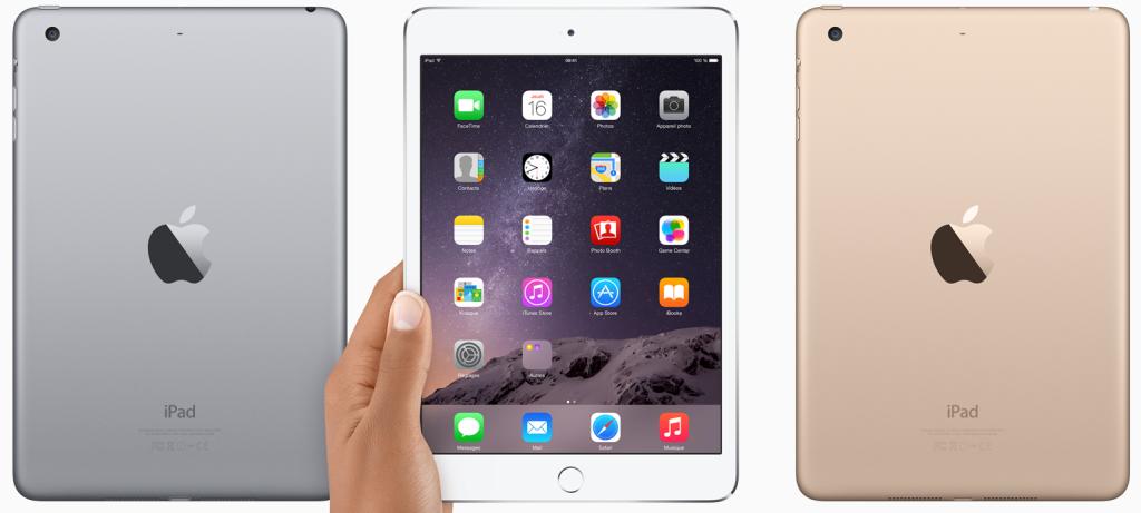 iPad Mini 3 or argent gris sideral 1024x461 - Apple : sortie d'un iPad Mini 4 mais pas d'un iPad Air 3 en 2015 ?