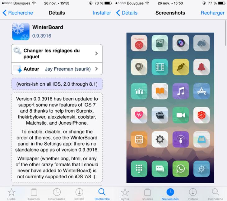 Cydia : Winterboard permet d'installer des thèmes iOS 8