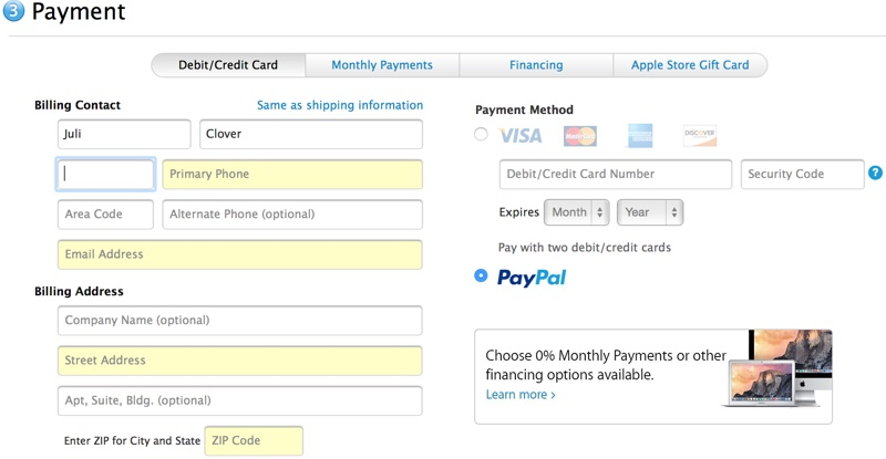 Apple Store PayPal