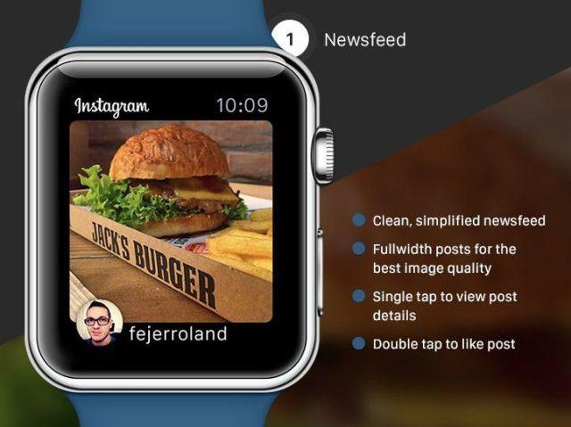 Apple Watch : un concept de l'application Instagram