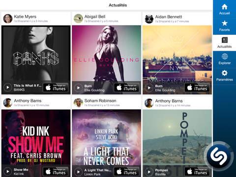Shazam : nouvel écran d'accueil et morceaux complets via Spotify