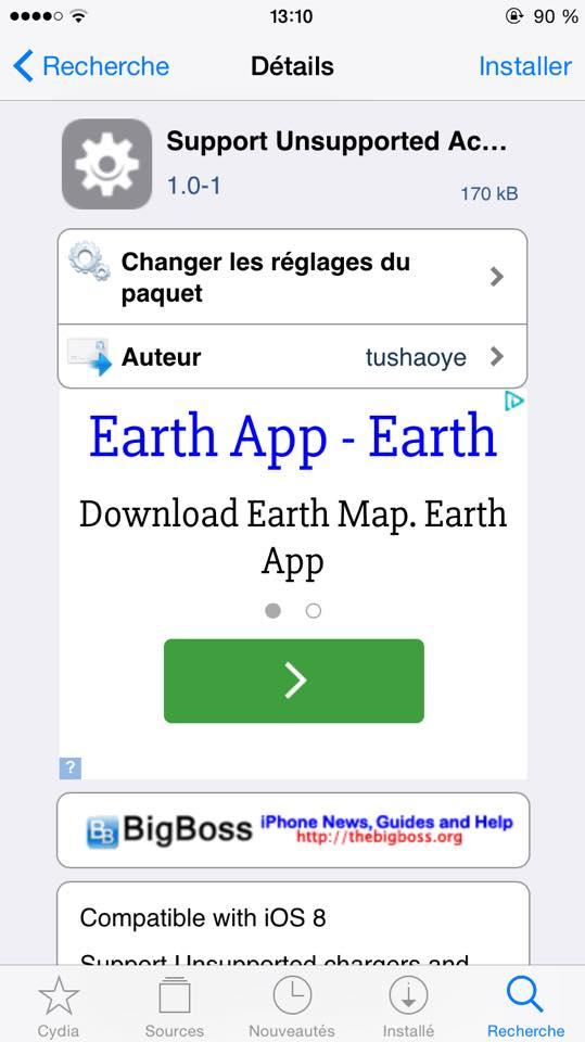 Cydia : utiliser un accessoire / câble non-officiel sur iOS 8