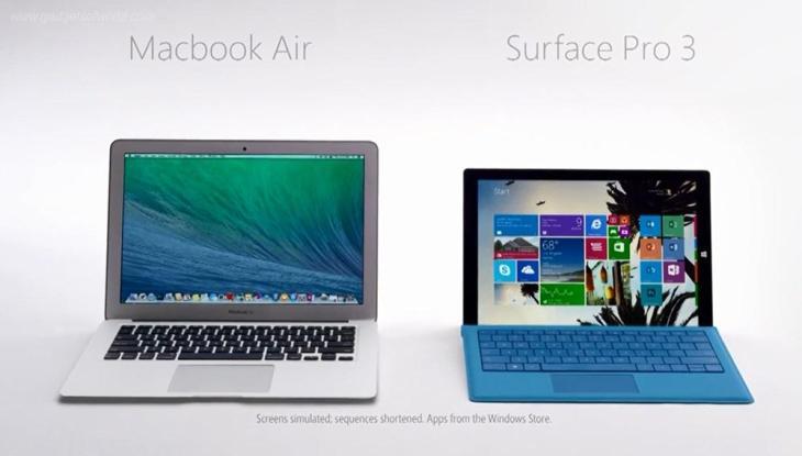 Microsoft : la publicité Surface Pro 3 vs MacBook Air en France