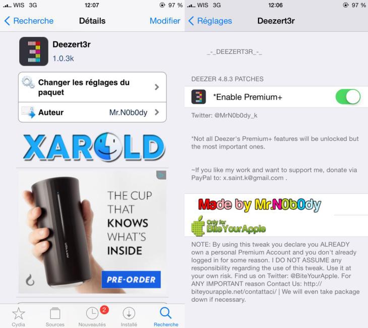 Cydia : Deezer Premium gratuit sur iPhone & iPad (iOS 8)