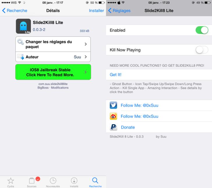 Cydia : Slide2Kill8, fermer toutes les applications iPhone / iPad (iOS 8)