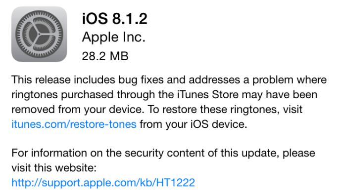 Apple ne signe plus iOS 8.1.2 : downgrade impossible