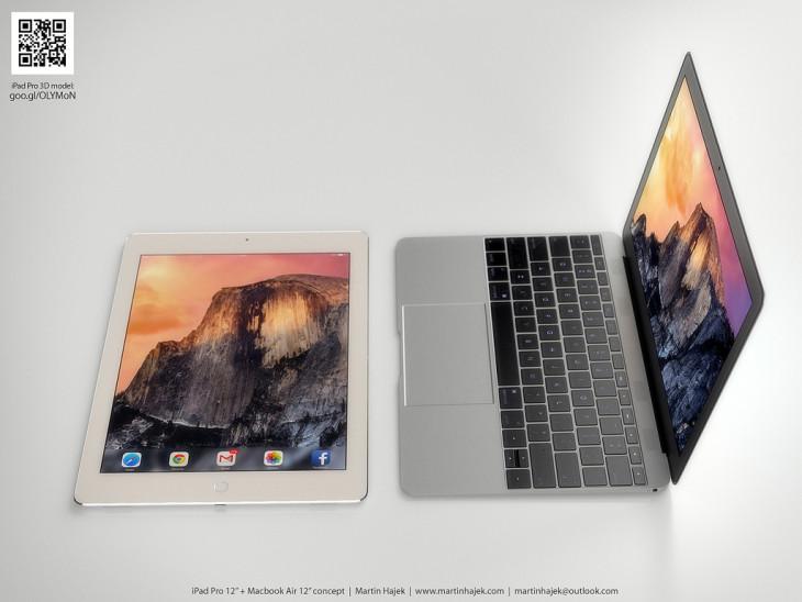 Concept : l'iPad Pro et le MacBook Air 12 pouces
