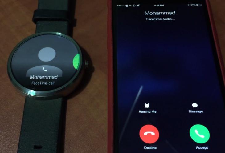 Smartwatch : une Moto 360 affiche un appel reçu sur un iPhone 6