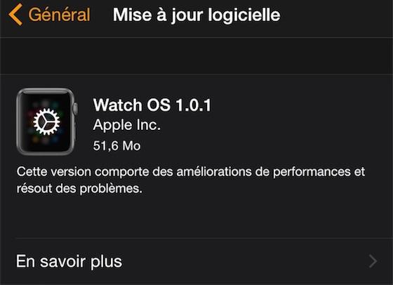 Watch OS 1.0.1 - Apple Watch : première mise à jour (Watch OS 1.0.1) disponible