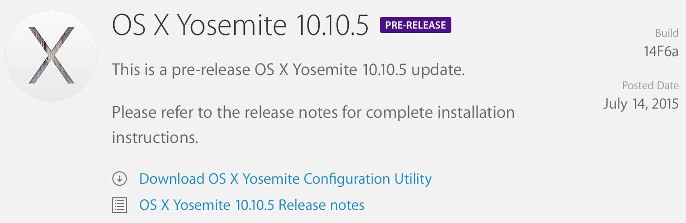 OS X Yosemite 10.10.5 - Mac OS X 10.10.5 disponible en version bêta pour le grand public