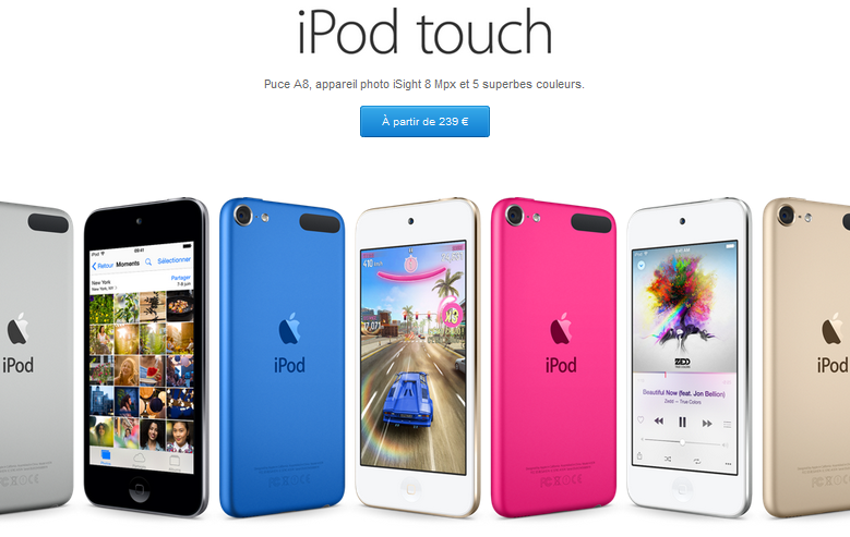 iPod Touch 6G Apple Store - Apple Store : iPod Touch 6G disponible, prix dès 239 euros