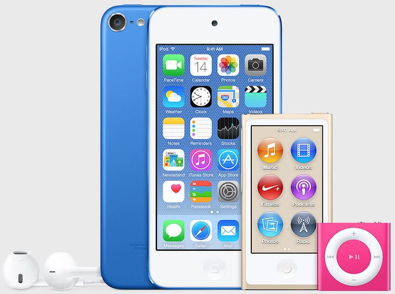 iTunes-12.2-iPod-touch-bleu-fonde-iPod-nano-or-iPod-shuffle-rose