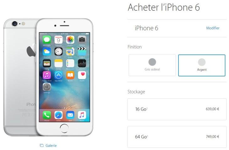 Apple Store : retrait de l'iPhone 5C, des iPhone 5S/6 or et 128 Go