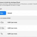 Apple : nouveaux forfaits de stockage iCloud disponibles