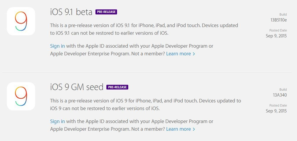 iOS 9 GM iOS 9.1 - iOS 9 Golden Master (GM) & iOS 9.1 bêta 1 disponibles