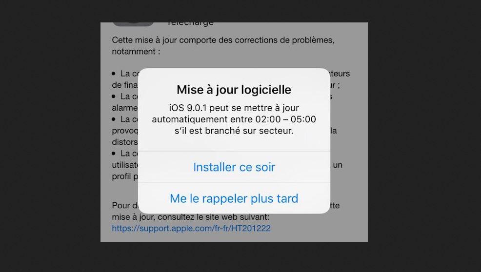 iOS 9.0.1 mise a jour programmer - iOS 9.1 : la mise à jour nocturne désactive les réveils