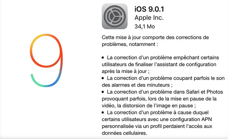 iOS 9.0.1 - iOS 9.0.1 corrige le souci de blocage après installation d'iOS 9