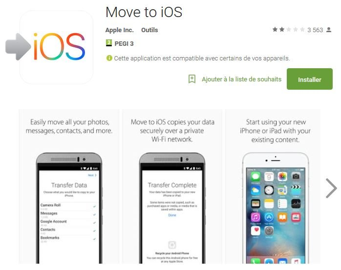 move to ios apple android - Move to iOS : l'app d'Apple pour migrer d'Android vers iOS
