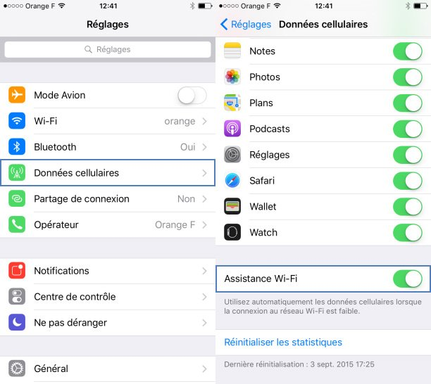 Assistance Wi-Fi (iOS 9) : attention au hors-forfait Internet sur l'iPhone
