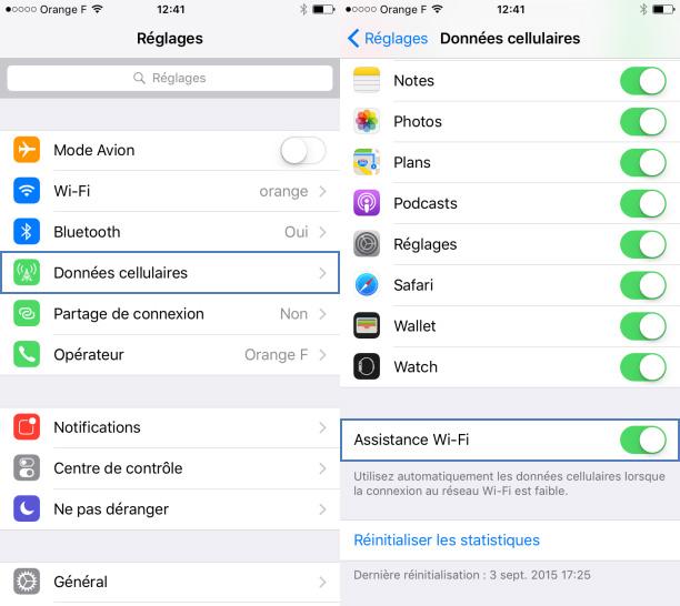 Assistance Wi Fi iOS 9 - Assistance Wi-Fi (iOS 9) : attention au hors-forfait Internet sur l'iPhone