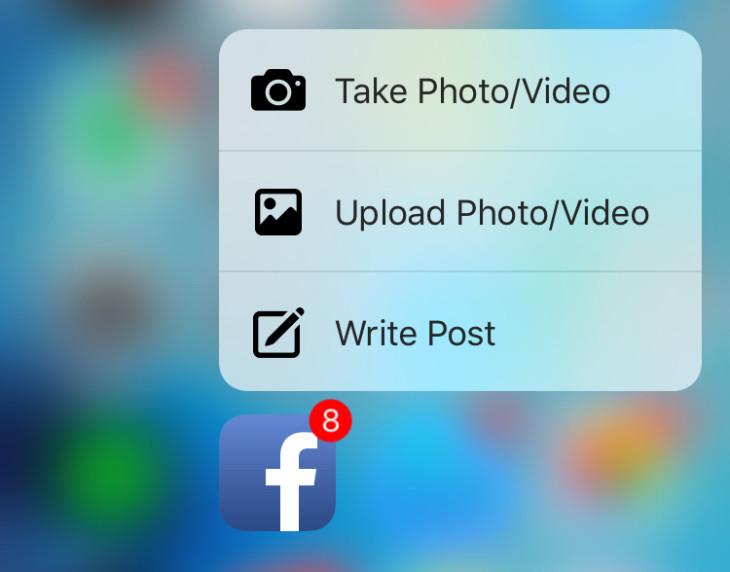 Facebook ajoute le support du 3D Touch de l'iPhone 6S
