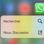 WhatsApp Messenger supporte désormais le 3D Touch de l'iPhone 6S