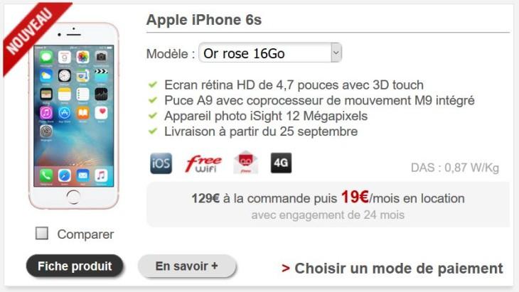 Free Mobile propose de louer l'iPhone 6S