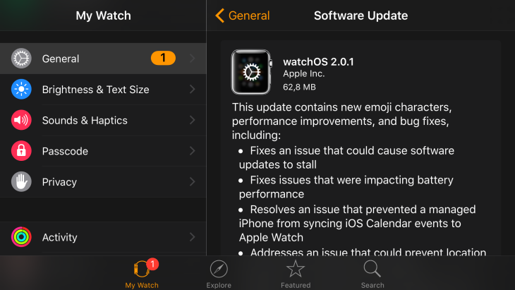 Apple Watch : watchOS 2.0.1 est disponible