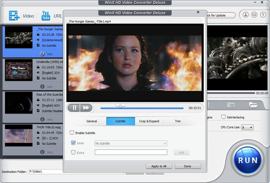 WinX HD Video Converter Deluxe Windows - WinX HD Video Converter Deluxe : un convertisseur de vidéo haute définition (Windows)