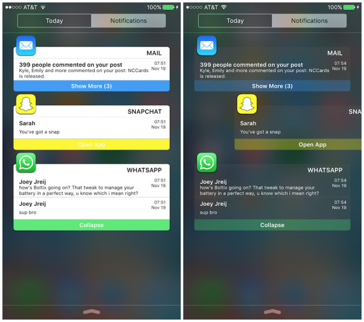 Jailbreak iOS 9 : NotificationCards améliore le centre de notifications (Cydia)