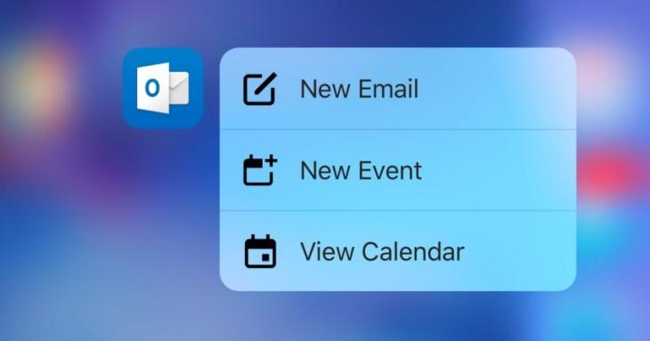 Outlook iOS prend en charge le 3D Touch des iPhone 6S
