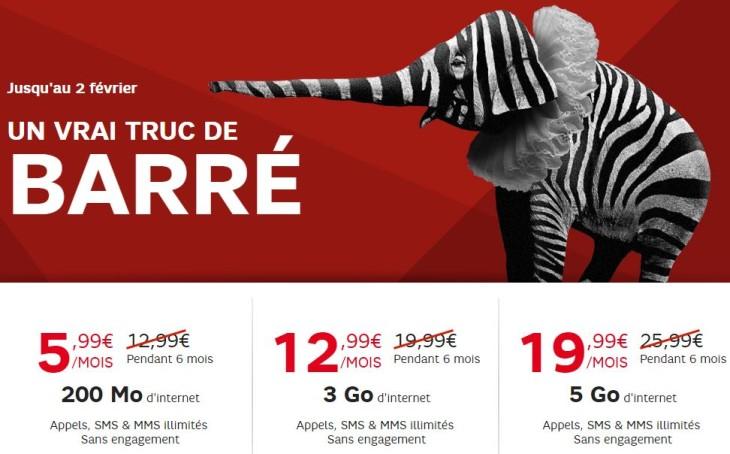 SFR Red : promotion sur les 3 forfaits sans engagement jusqu'au 14 février