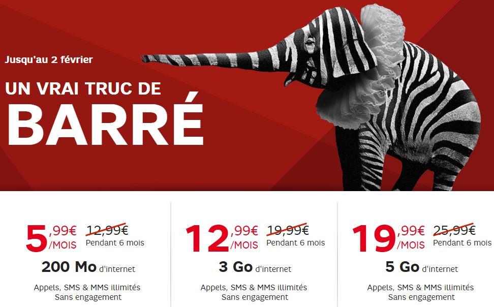 SFR RED PRomotion janvier 2016 - SFR Red : promotion sur les 3 forfaits sans engagement jusqu'au 14 février