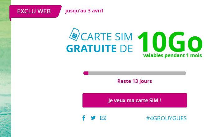 Bouygues Telecom carte sim 10 go gratuite - Bouygues Telecom : carte SIM gratuite avec Internet 10Go (4G) pendant 1 mois !