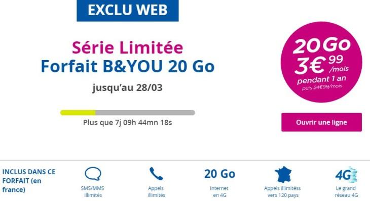 B&YOU : forfait 4G avec 20 Go d'Internet à 3,99€/mois